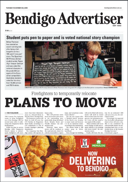 Bendigo Advertiser - Student Puts Pen To Paper and is Voted National Story Champion