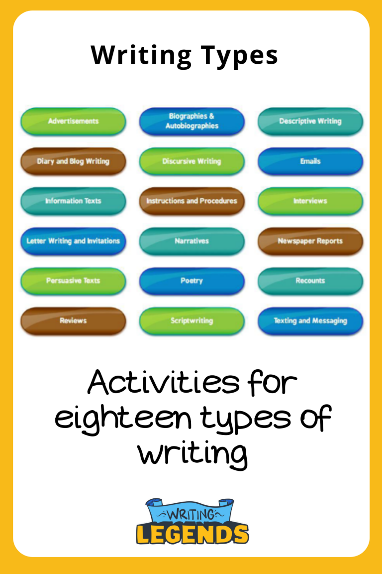 Writing Legends - Activities for 18 types of writing